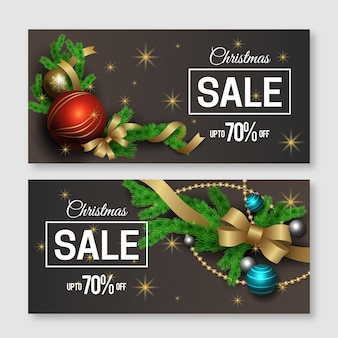 Realistic christmas sale banners pack