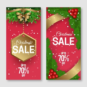 Realistic christmas sale banners set