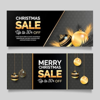 Realistic christmas sale banners template