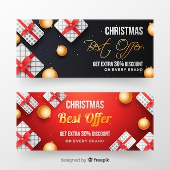 Realistic christmas sale banners