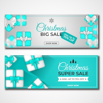 Realistic christmas sale banners