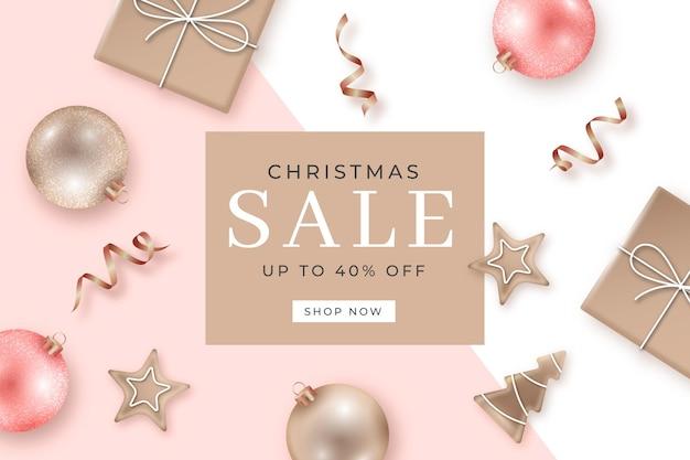Реалистичная рождественская распродажа в пастельных тонах