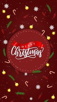 Реалистичные рождественские продажи instagram рассказы с украшениями