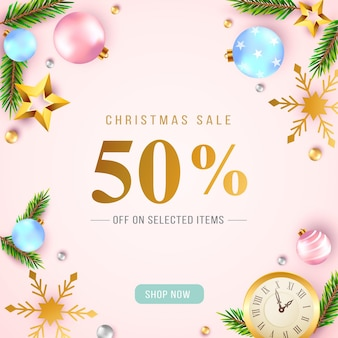 Realistic christmas sale in pastel colors