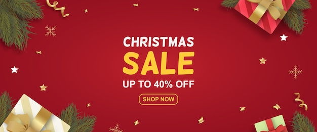 Realistic christmas sale special offer banner with presents and branches