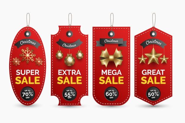 Реалистичные рождественские продажи тегов коллекции