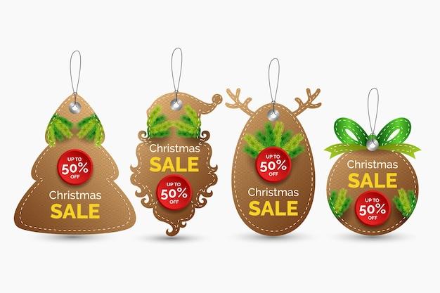 Realistic christmas sale tag collection