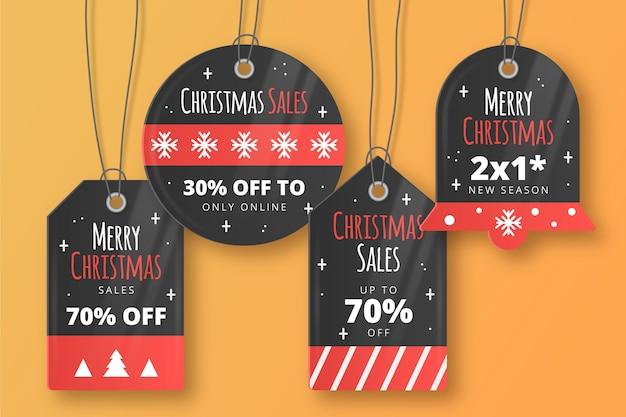 현실적인 크리스마스 판매 태그 컬렉션