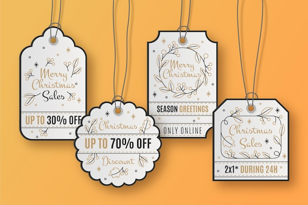 Realistic christmas sale tag collection