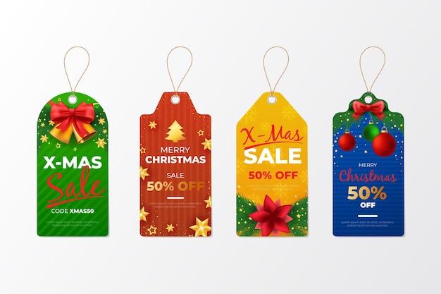 リアルなクリスマスセールタグコレクション