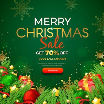 Realistic christmas sale template
