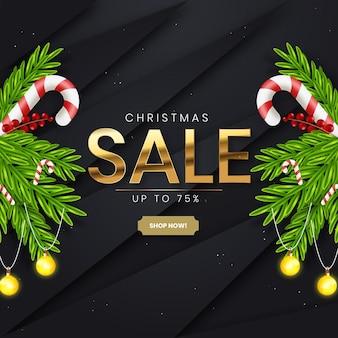 Реалистичная рождественская распродажа с черно-золотым декором