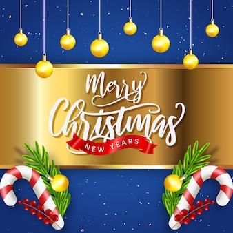 Реалистичная рождественская распродажа с синим и украшением