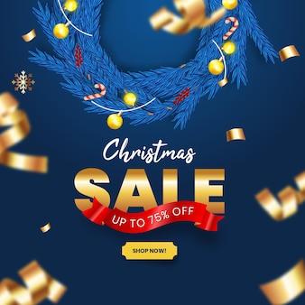 Реалистичная рождественская распродажа с синим и золотым декором