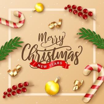 Реалистичная рождественская распродажа со сливками и украшениями