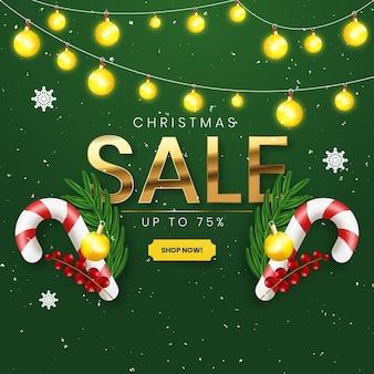 Реалистичная рождественская распродажа с зелеными и золотыми украшениями