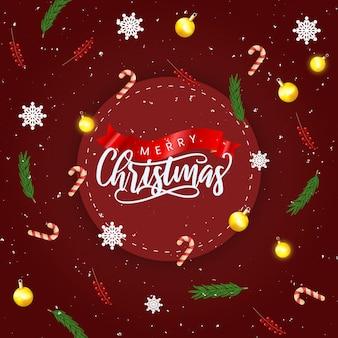 Реалистичная рождественская распродажа с красным и украшением