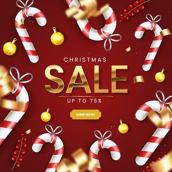 赤と金色の装飾が施されたリアルなクリスマスセール