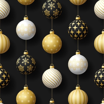 Realistic christmas seamless pattern with gold white and black tree ball