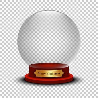 Realistic christmas snow ball. glass snow ball with shadow on transparent background