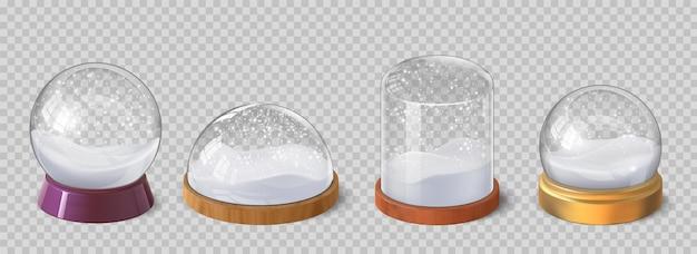 リアルなクリスマスのスノードームと雪片のあるガラスのドーム。冬の休日の装飾的なお土産雪に覆われたクリスタルボール。スノードームベクトルセット。新年の魔法の光沢のある球のギフトまたはプレゼント