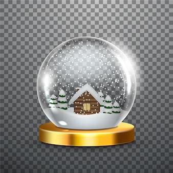 Globo realistico della palla di neve di natale
