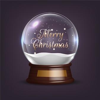 Реалистичный рождественский снежный шар