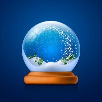Realistic christmas snowball globe
