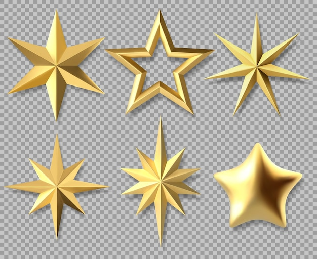 リアルなクリスマスの星。黄金のクリスマスの光沢のある3d星、装飾的なシンボル分離ベクトルイラストセットを授与します。ゴールドのクリスマスの星のアイコン。黄金の星のクリスマスから装飾、黄色の形