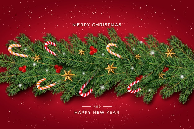 Realistic christmas tinsel background with candy canes