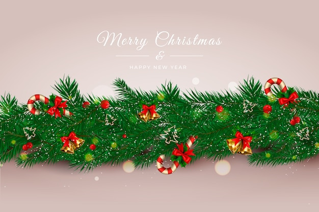 Realistic christmas tinsel background