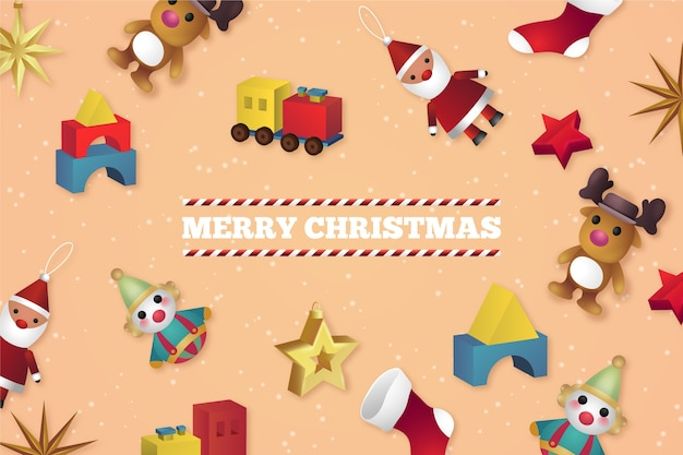 Realistic christmas toys background