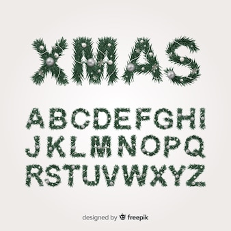 Realistic christmas tree alphabet