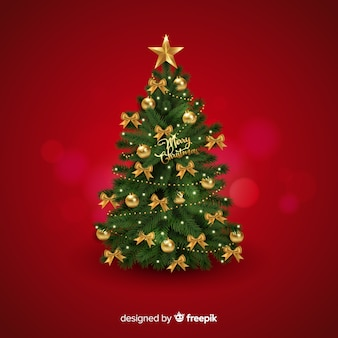 Realistic christmas tree background