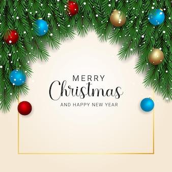 흰색 배경에 눈이 있는 현실적인 크리스마스 트리 분기 빨간색과 하늘색 공