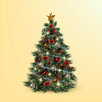 Realistic christmas tree concept