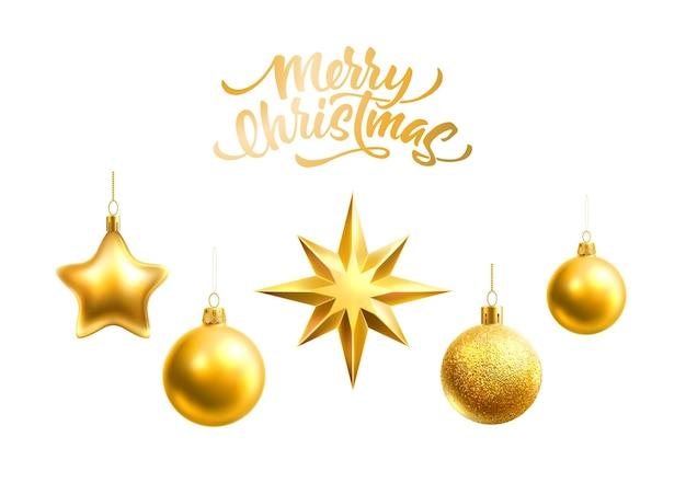 伝統的な冬の休日のデザインのための現実的なクリスマスツリーの装飾ボール地球儀と星 Premiumベクター