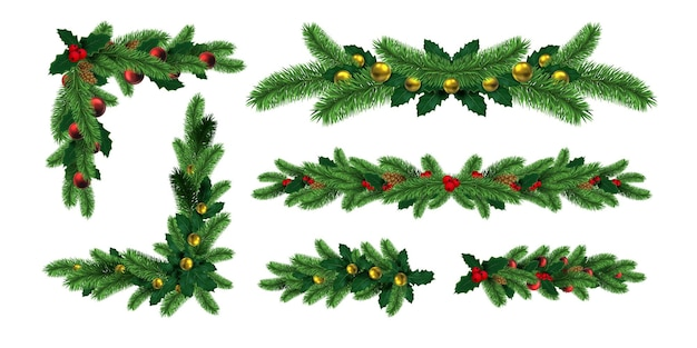 Realistic christmas tree garlands borders and frame corners. winter holiday decoration with fir branch, holly leaf and pine cones vector set. illustration of decoration christmas fir frame realistic