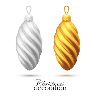 Realistic christmas tree toys silver and golden cones. winter xmas, new year holiday background.