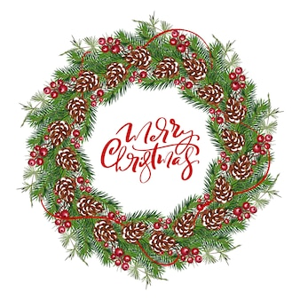 Realistic christmas vector wreath frame with red berries on evergreen branches