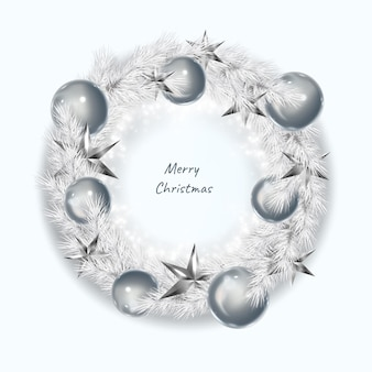 リアルなクリスマスの白い花輪。