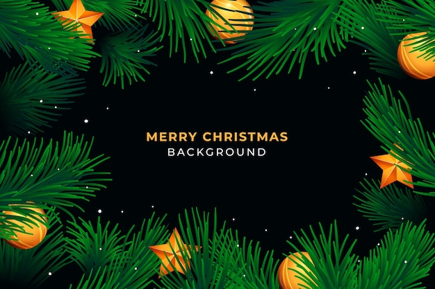 Realistic christmas wreath background