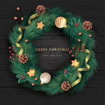 Realistic christmas wreath in black wooden background