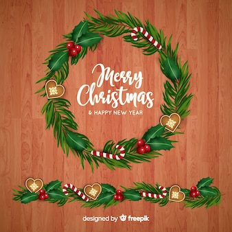 Realistic christmas wreath and border background