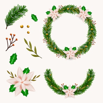 Realistic christmas wreath collection