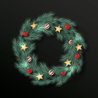 Realistic christmas wreath concept