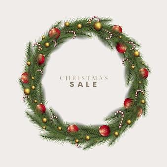 Realistic christmas wreath concept