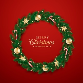 Realistic christmas wreath template