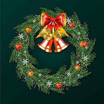 Реалистичный рождественский венок с колокольчиками