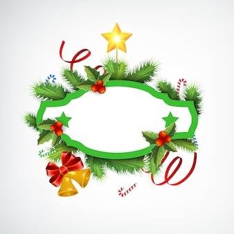 Реалистичный рождественский венок с пустой рамкой, еловые ветки, ленты, конфеты, звенят колокольчики и звезда